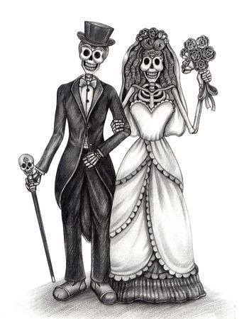 Art Skull Día de los muertos. Gráfico de la mano en el papel. Foto de archivo - 32845835