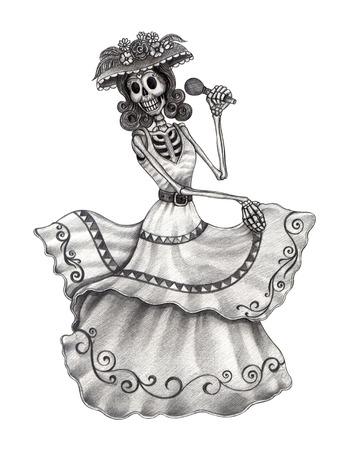Arte Skull Día de los muertos. Gráfico de la mano en el papel. Foto de archivo - 32845836