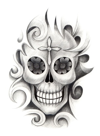 snob: Skull Tattoo. Hand Drawing on paper.