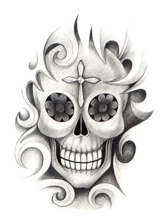 cross bone: Skull Tattoo. Hand Drawing on paper.