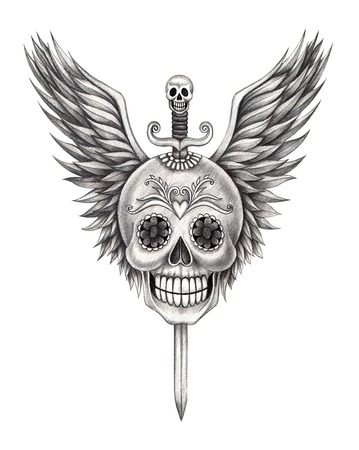 cross and wings: Skull Wing tattoo .Hand drawing on paper. Stock Photo