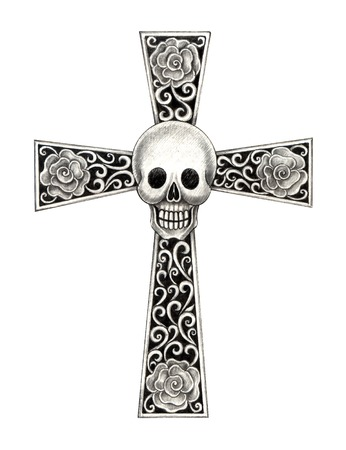 Art skull cross . Hand drawing on paper. photo