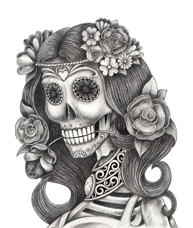 crown of light: Art Skull Day of the dead.Hand Drawing on paper.