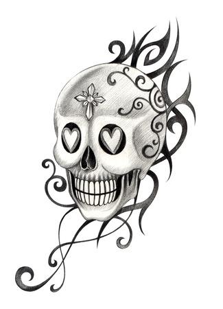 heavy heart: Skull Tattoo. Hand Drawing on paper.