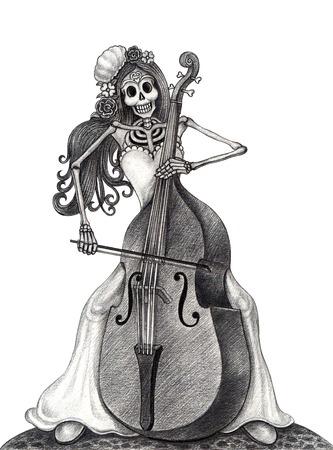 死者の頭蓋骨日をアート。紙に手書きします。 写真素材