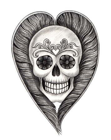 all souls' day: Art skull surreal feather. Hand drawing on paper