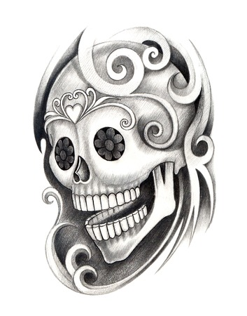 Skull Tattoo. Hand Drawing on paper. photo