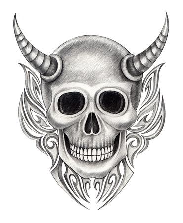 Devil skull tattoo .Hand drawing on paper. Stock Photo