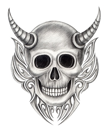 rustler: Devil skull tattoo .Hand drawing on paper. Stock Photo