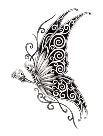 Art skull butterfly tattoo. Hand drawing on paper.