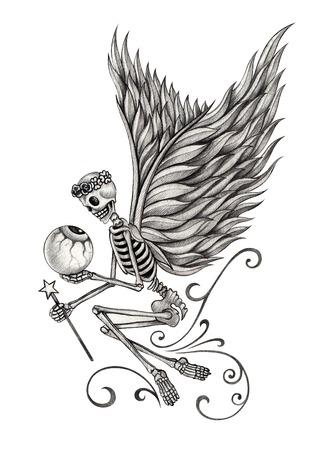 tatouage ange: Ange crâne. Hand drawing sur papier