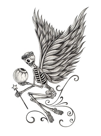dead insect: Skull angel. Hand drawing on paper