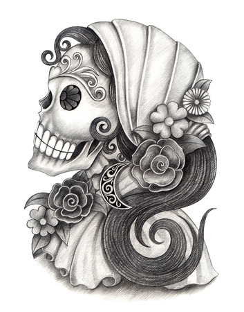 drawing: Art Skull Day of the dead.Hand Drawing on paper.