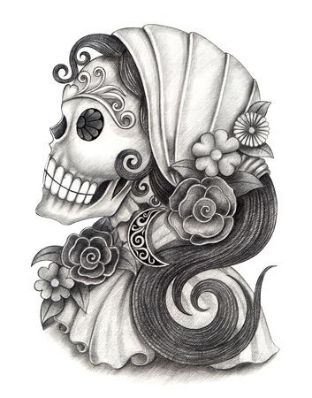 Arte Cráneo Día del Dibujo dead.Hand en papel. Foto de archivo - 32987375