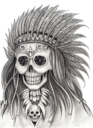 all souls' day: Indian skull day of the dead. Hand drawing on paper. Stock Photo