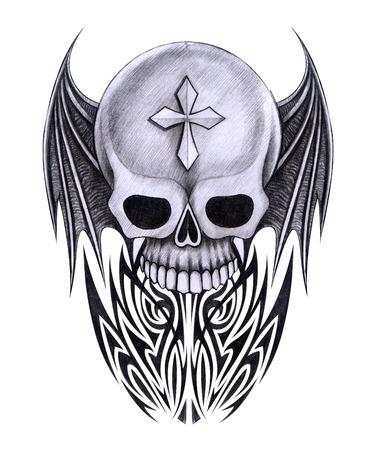 Skull Tattoo. Hand Drawing on paper.