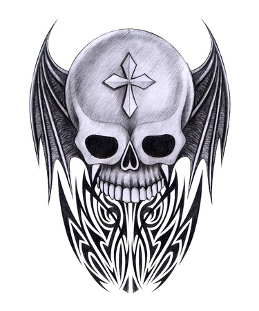 cross hair: Skull Tattoo. Hand Drawing on paper.