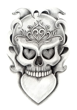 Skull Heart Tattoo. Hand Drawing on paper. photo