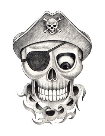 Skull pirate tattoo. Hand drawing on paper. Imagens