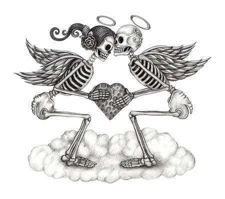Art cupids skull. Hand drawing on paper.