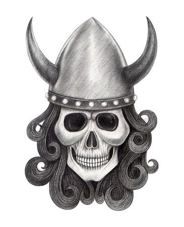 dork: Art Skull Viking. Hand Drawing on paper. Stock Photo