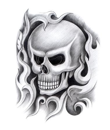 death metal: Skull Tattoo. Hand Drawing on paper.