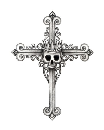 Art Skull Cross. Hand Drawing on paper.