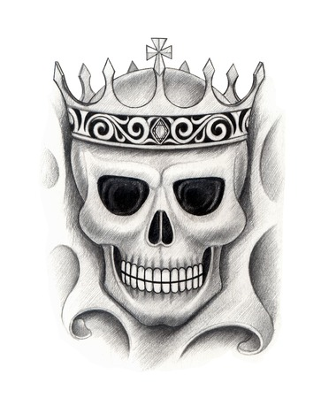 death metal: Skull king tattoo.Hand drawing on paper.