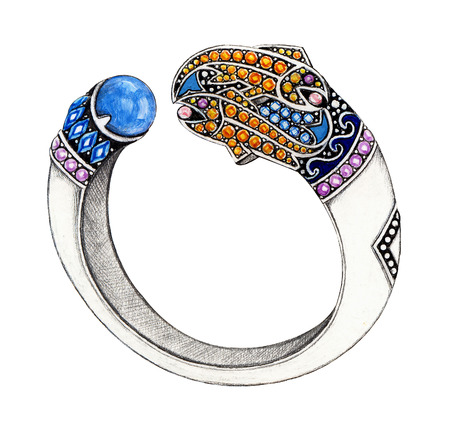 Pisces bangle . Hand Drawing and painting on paper jewelry design. photo