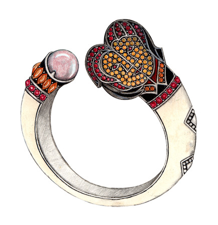 Gemini bangle. Hand Drawing and painting on paper jewelry design. photo