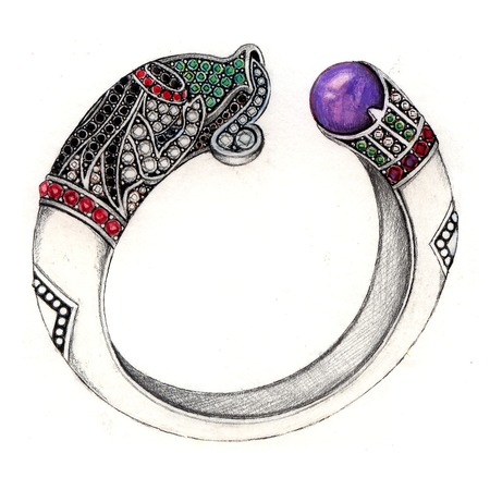 Aquarius bangle. Hand Drawing and painting on paper jewelry design. photo
