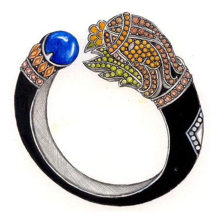 Virgo bangle. Hand Drawing and painting on paper jewelry design. photo