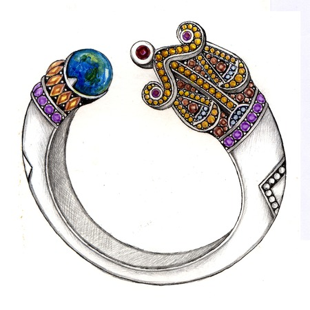 Libra bangle. Hand Drawing and painting on paper jewelry design. photo