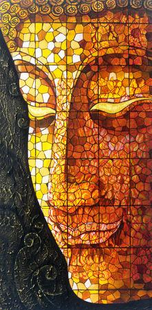 cabeza de buda: Arte Buda vidrieras. Pintura del color de acr�lico sobre lienzo. Foto de archivo