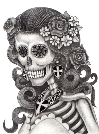 skull background: Art Skull Day of the dead.Hand Drawing on paper.