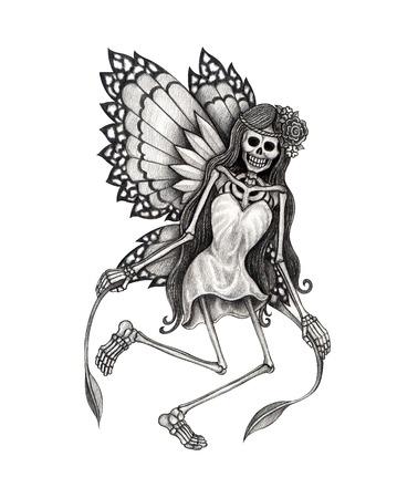 tatouage ange: Tatouage de cr�ne. Dessin � la main sur papier. Banque d'images