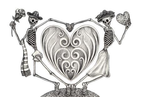 Kunst Schädel-Tag des dead.Hand Zeichnung auf Papier. Standard-Bild