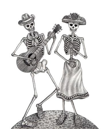 Arte Cráneo Día del Dibujo dead.Hand en papel. Foto de archivo - 34109700