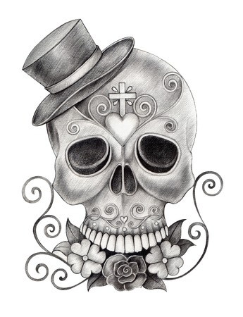 catrina: Art Skull Day of the dead.Hand Drawing on paper.