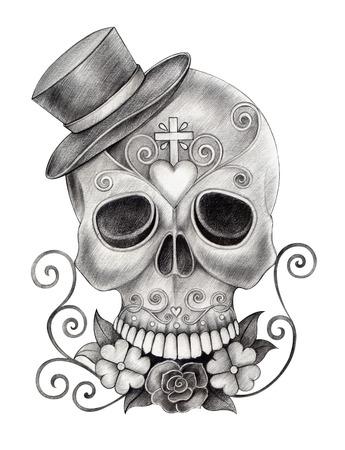 la calavera catrina Arte Cráneo Día del Dibujo dead.Hand en papel.