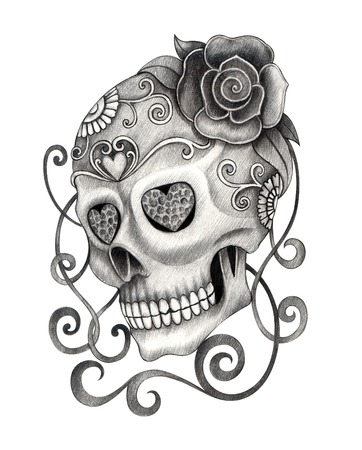tattoo drawings: Art Skull Day of the dead.Hand Drawing on paper.