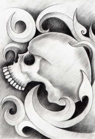 nerdy: Skull Tattoo. Hand Drawing on paper.