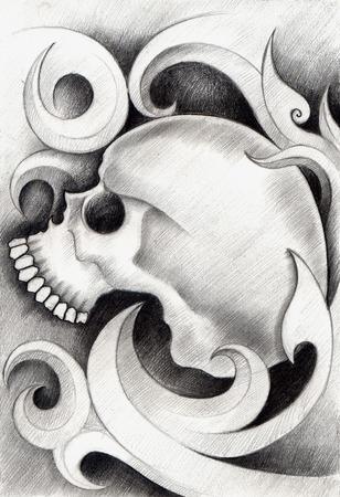 dork: Skull Tattoo. Hand Drawing on paper.