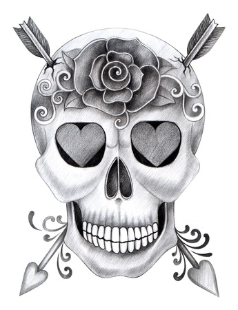 folk art: Art Skull Day of the dead.Hand Drawing on paper.
