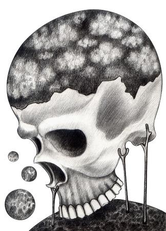 catrina: Art skull surreal. Hand drawing on paper.