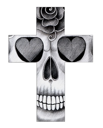 all souls' day: Art skull cross day of the dead. Hand drawing on paper.