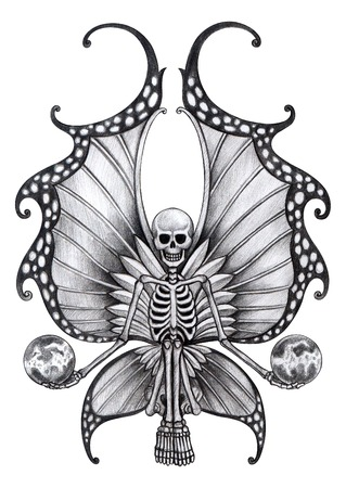dead insect: Skull Fairy Tattoo. Hand Drawing on paper.