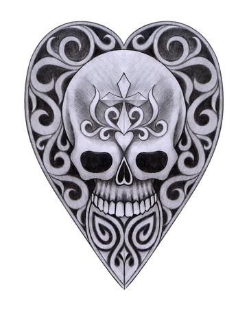 heavy heart: Skull Heart Tattoo. Hand Drawing on paper.