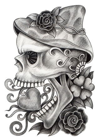 heart tattoo: Art Skull Day of the dead. Hand drawing on paper.