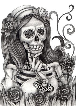 skull design: Art Skull Day of the dead.Hand Drawing on paper.